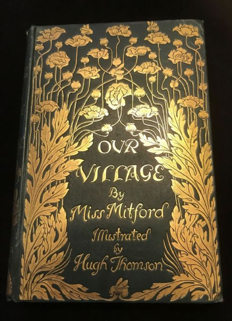 Book Cover Art Nouveau : Our village by miss mitford antiquarian book stunning